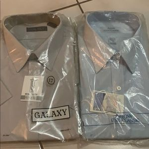 Two men's dress shirts. NWT in plastic.